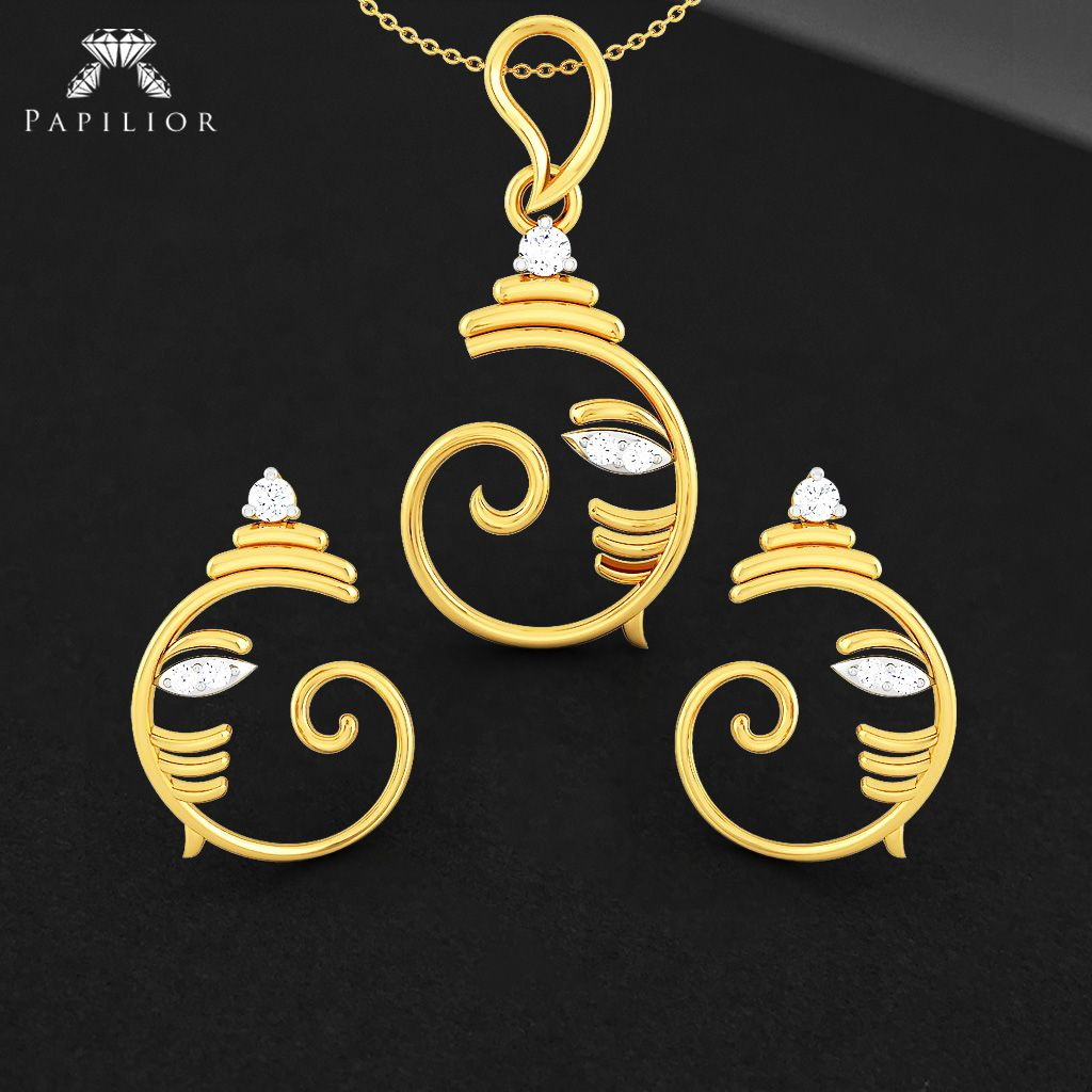 Nature inspiration design for you pendantset goldpendantset