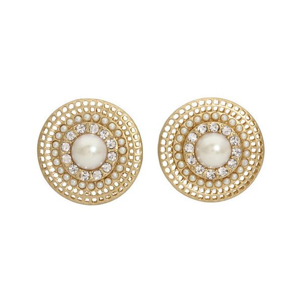 Carolee - Retro Pearls Button Clip Earrings (Gold/White Pearl) -... ($46) ❤ liked on Polyvore featuring jewelry, earrings, accessories, украшения, bridal, women's jewelry, clip earrings, retro earrings, gold clip on earrings and pearl clip on earrings