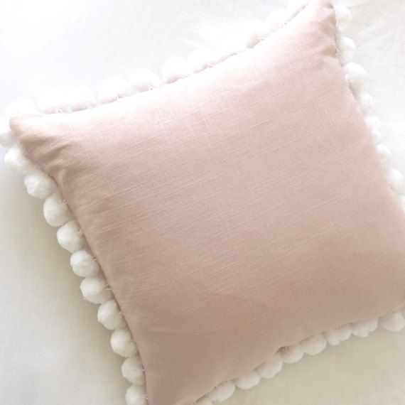 Pom Pom Blush Linen Pillow Cover Blush Pillow Rose Pillow Etsy Blush Pillows Pillow Decorative Bedroom Light Pink Pillows