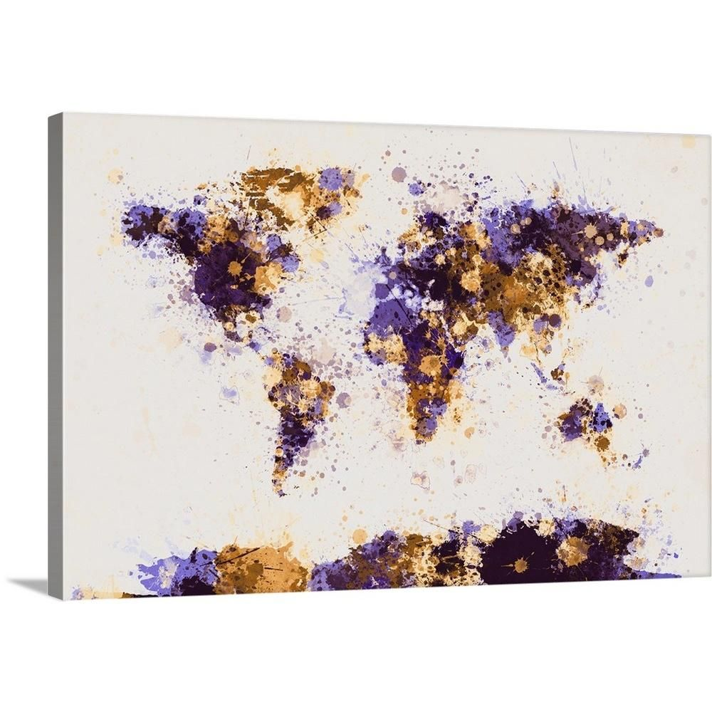 "GreatBigCanvas ""World Map Paint Splashes, Yellow and Purple"" by Michael Tompsett Canvas Wall Art-2075549_24_36x24 - The Home Depot"