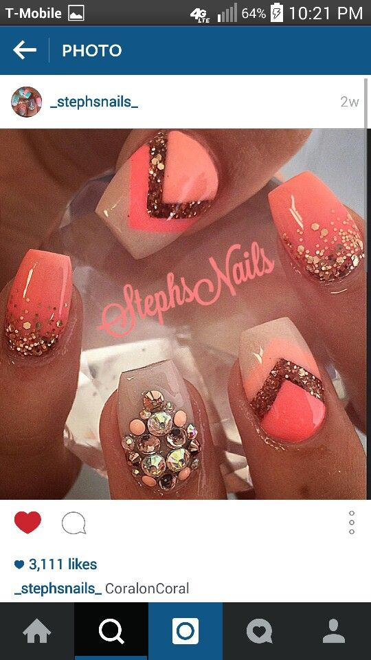 Coral with rhinestones