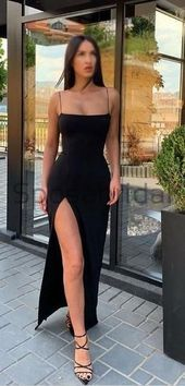 Photo of Spaghetti Straps Mermaid Black Side Slit Formal Long Modest Uniqu