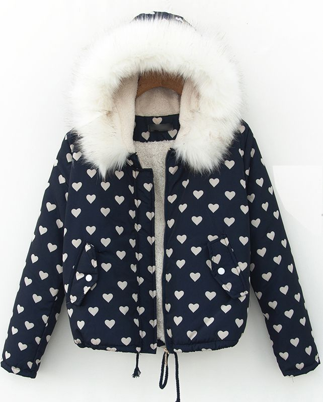 Navy Faux Fur Hooded Heart Pattern Drawtring Coat