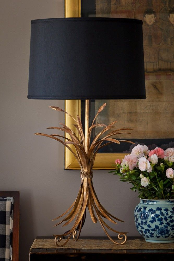 Demeter Gold Wheat Lamp Black Lampshade Buffet Lamps Gold Lamp