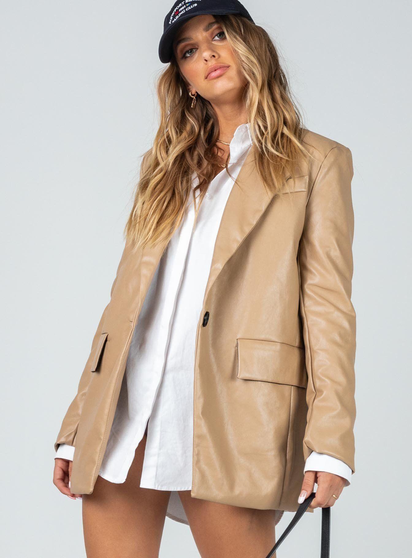 Jocelyn Jacket Beige Beige Leather Jacket Outfit Beige Leather Jacket Jackets [ 1819 x 1344 Pixel ]