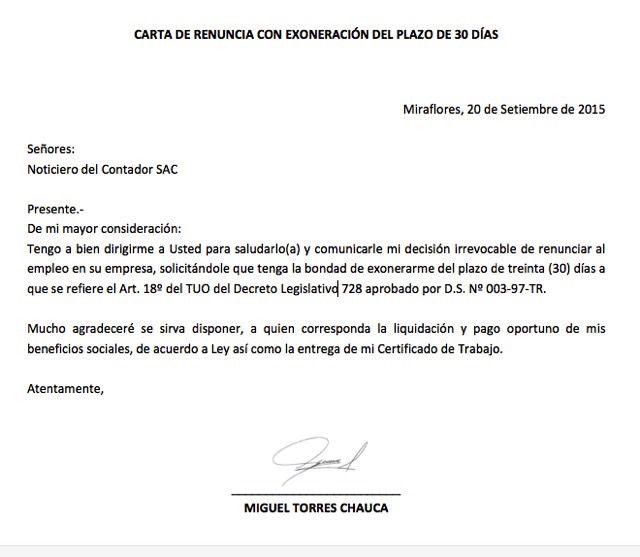 renuncia-trabajo | Perú | Pinterest | Carta de renuncia, Renunciar y ...