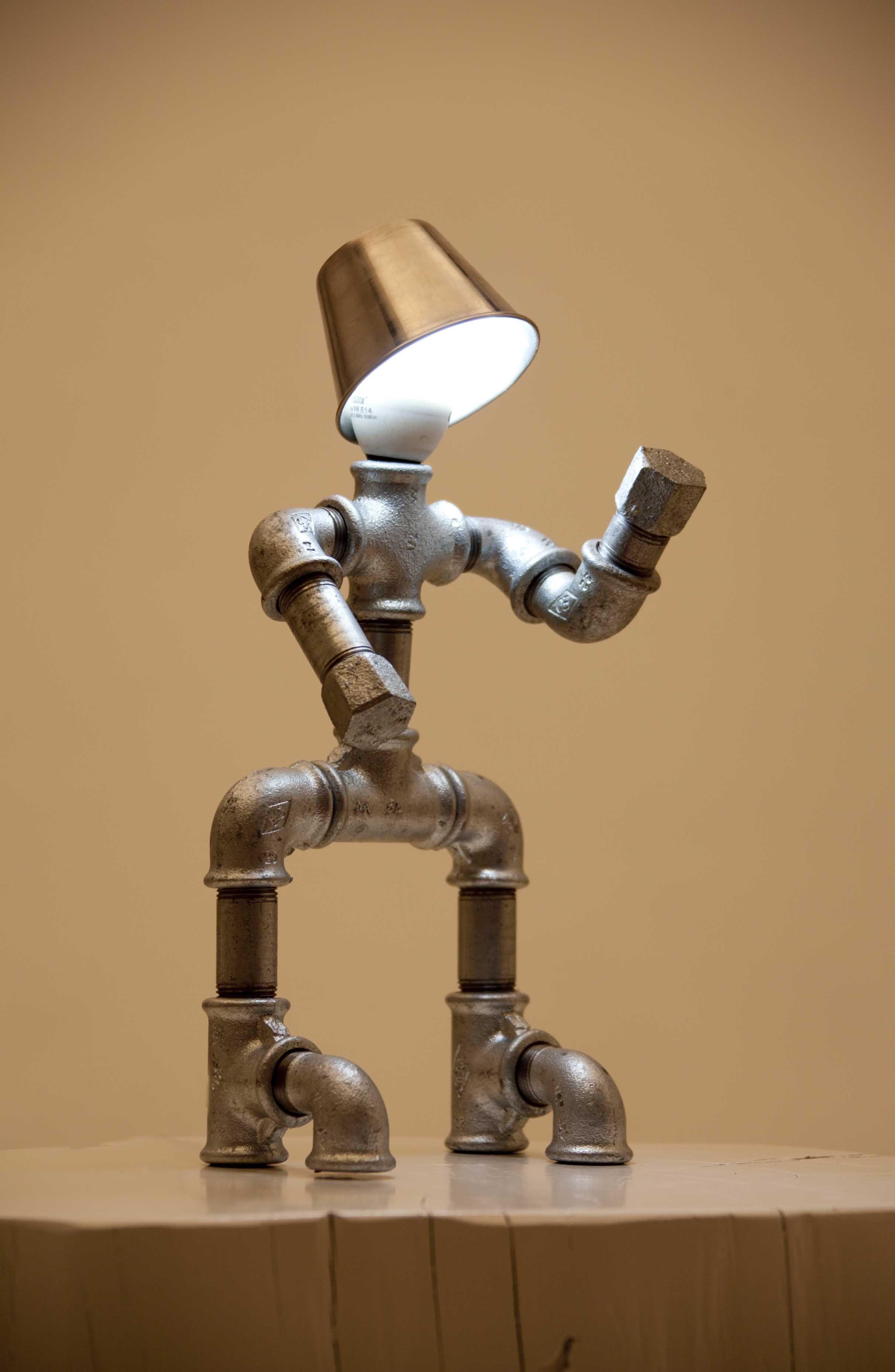 L mpara de arte industrial trabajado artesanal con - Tubos de fontaneria ...