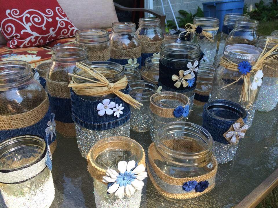 Junk salvation by funky junk sisters mason jars denim for Denim centerpieces