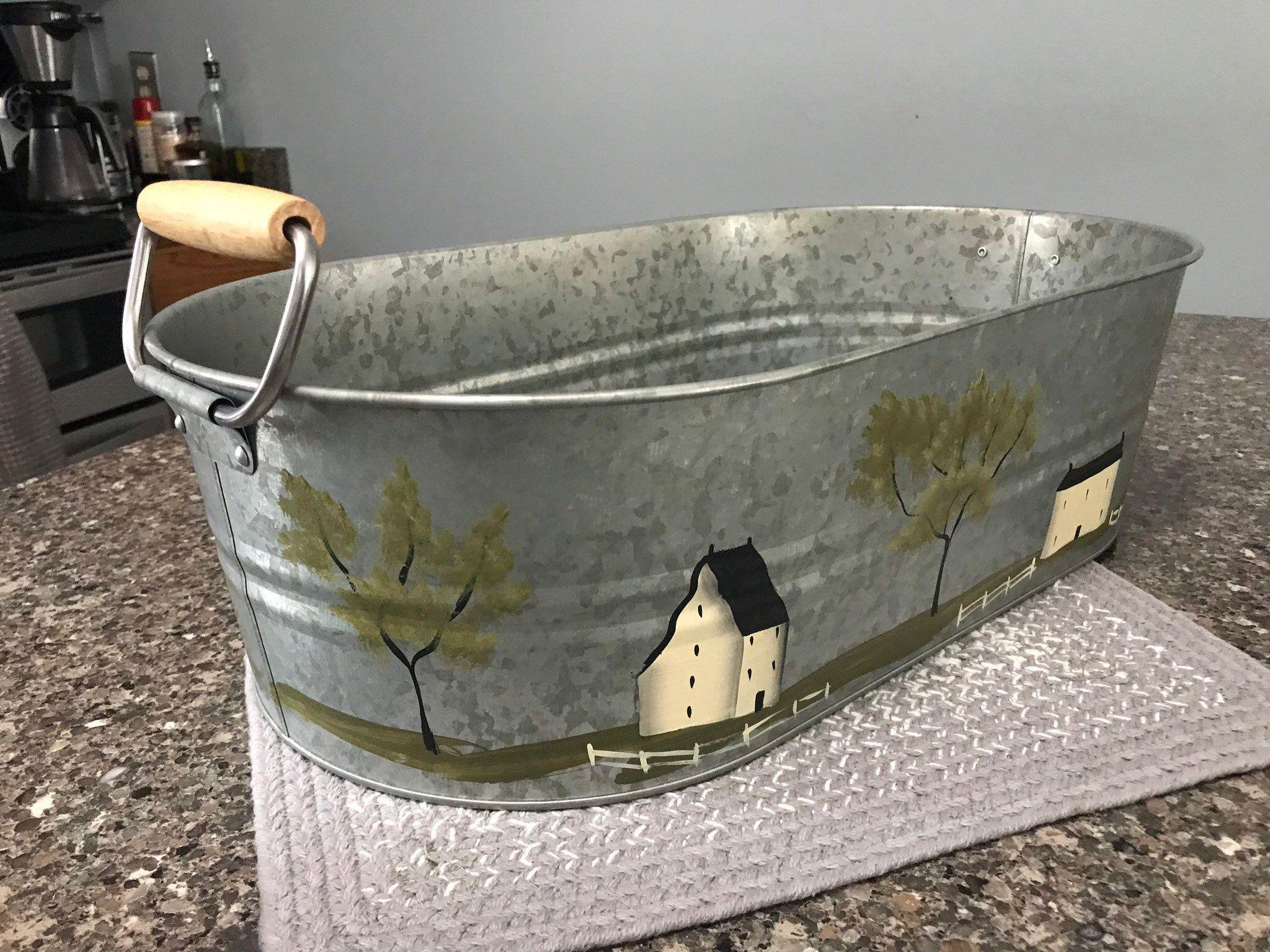 Galvanized Metal Tub Farmhouse Decor Beverage Container Bread