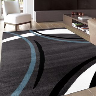 Modern Circles Blue Area Rug 5 3 X 7 Ping The Best Deals On 5x8 6x9 Rugs