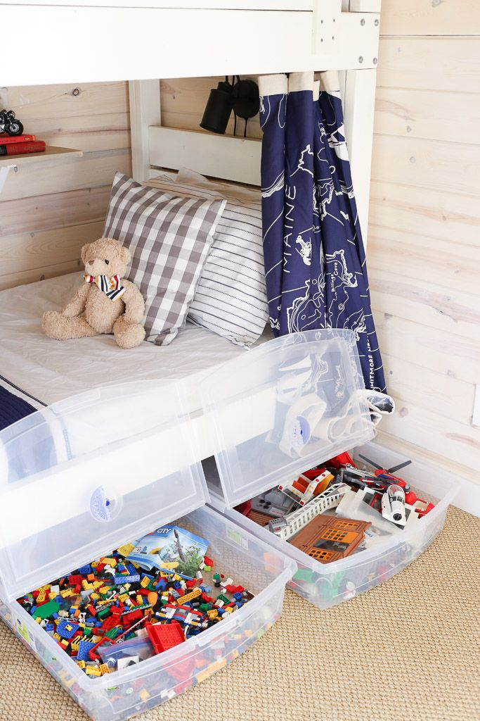 One Room Challenge Boys Cottage Bunk Room Reveal This Mamas Dance Bedroom Toys Diy Toy Storage Under Bed Storage