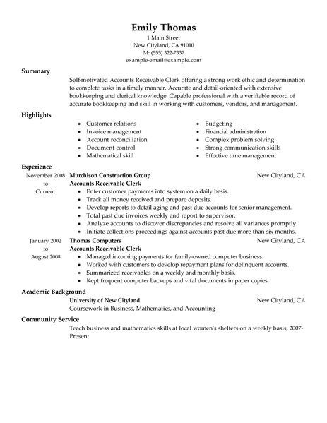 Best Accounts Receivable Clerk Resume Example Livecareer Sample Objective