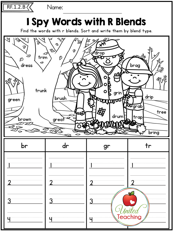 Autumn 1st Grade No Prep Literacy Worksheets Phonics