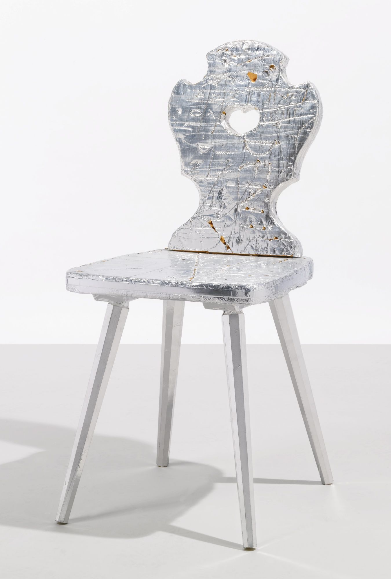 RUDOLF STINGEL A RARE CHAIR celotex insulation, aluminium foil and wood 36 1/8 x 16 1/8 x 19 1/4 in. (91.8 x 40.9 x 48.9 cm) circa 2006