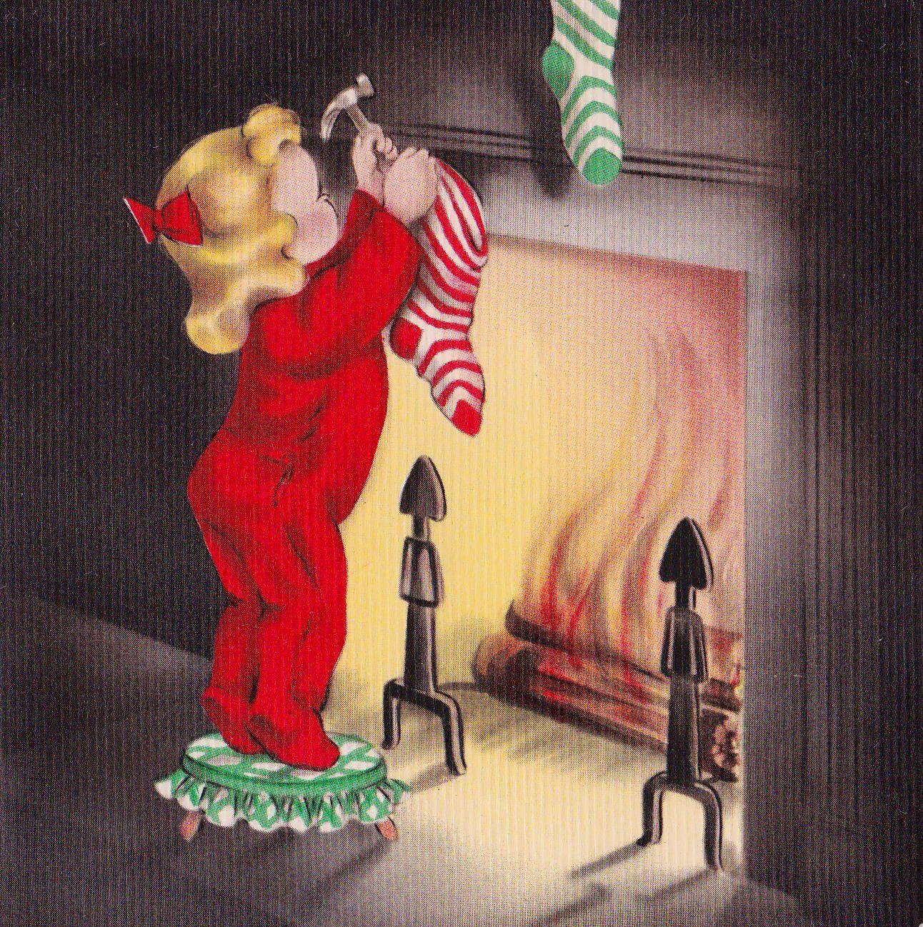 Hanging the Christmas stocking ~ 1941 Hallmark card