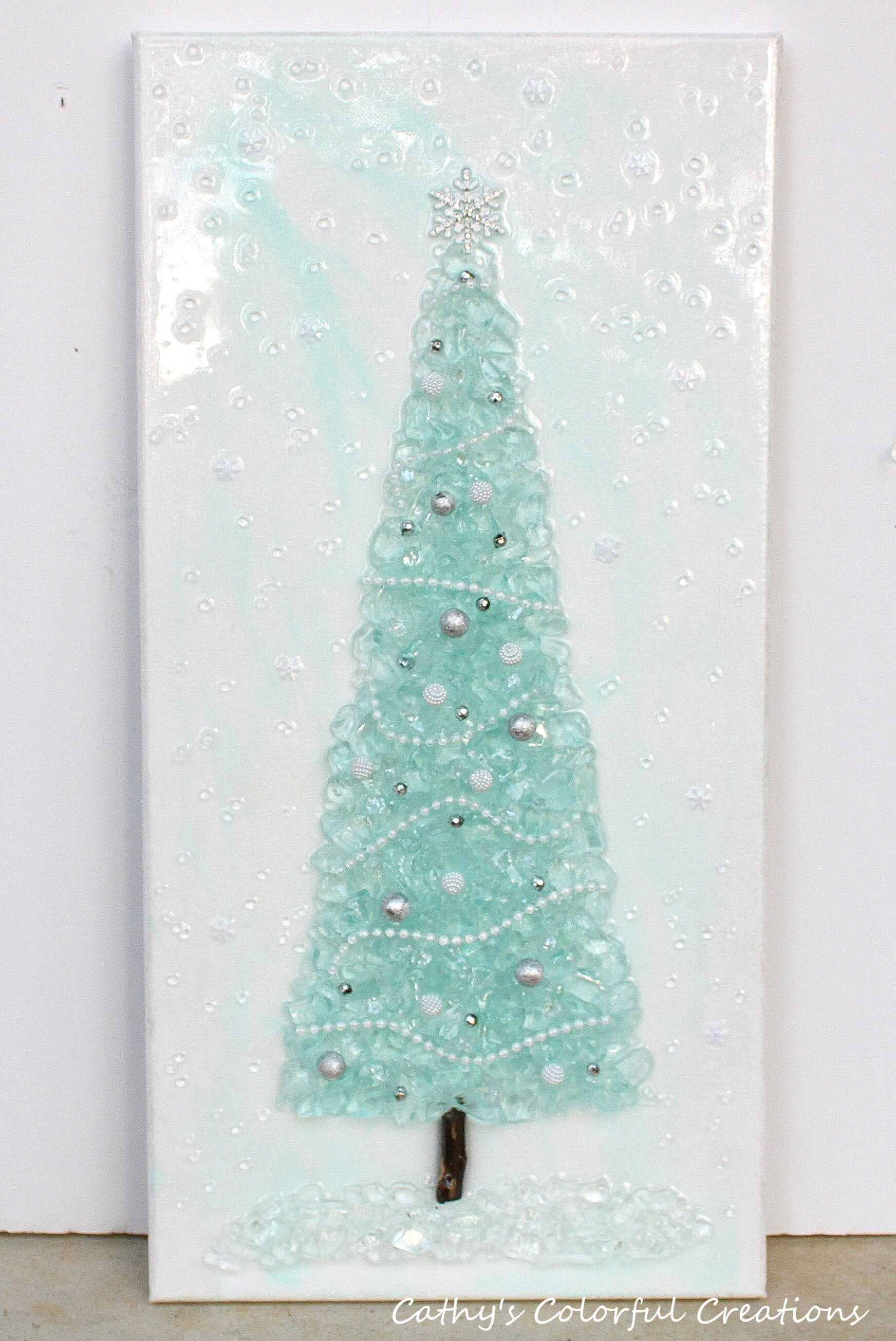 Christmas Tree Glass Tree Christmas Decor Crushed Glass Etsy Broken Glass Art Glass Art Blown Glass Art