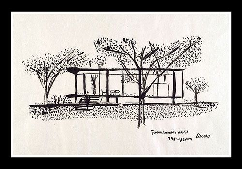 "Illustration by architect Tadao Ando of the Farnsworth House (1945-51) designed by architect Ludwig Mies van der Rohe.  2009, Ink on paper, 18 1/2"" x 12 3/4"""