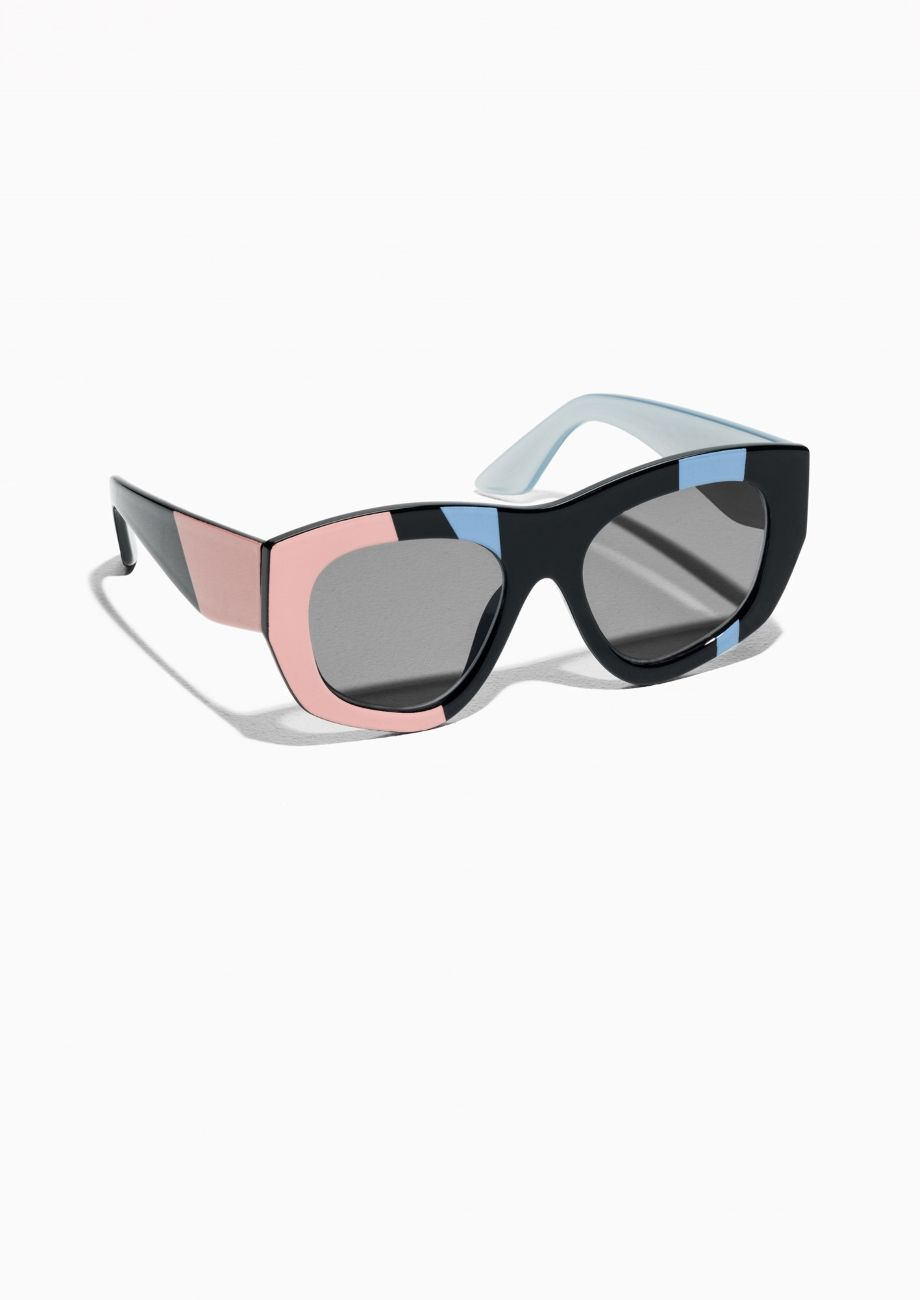 c55929655d5   Other Stories image 1 of Colour Block Sunglasses in Black ...