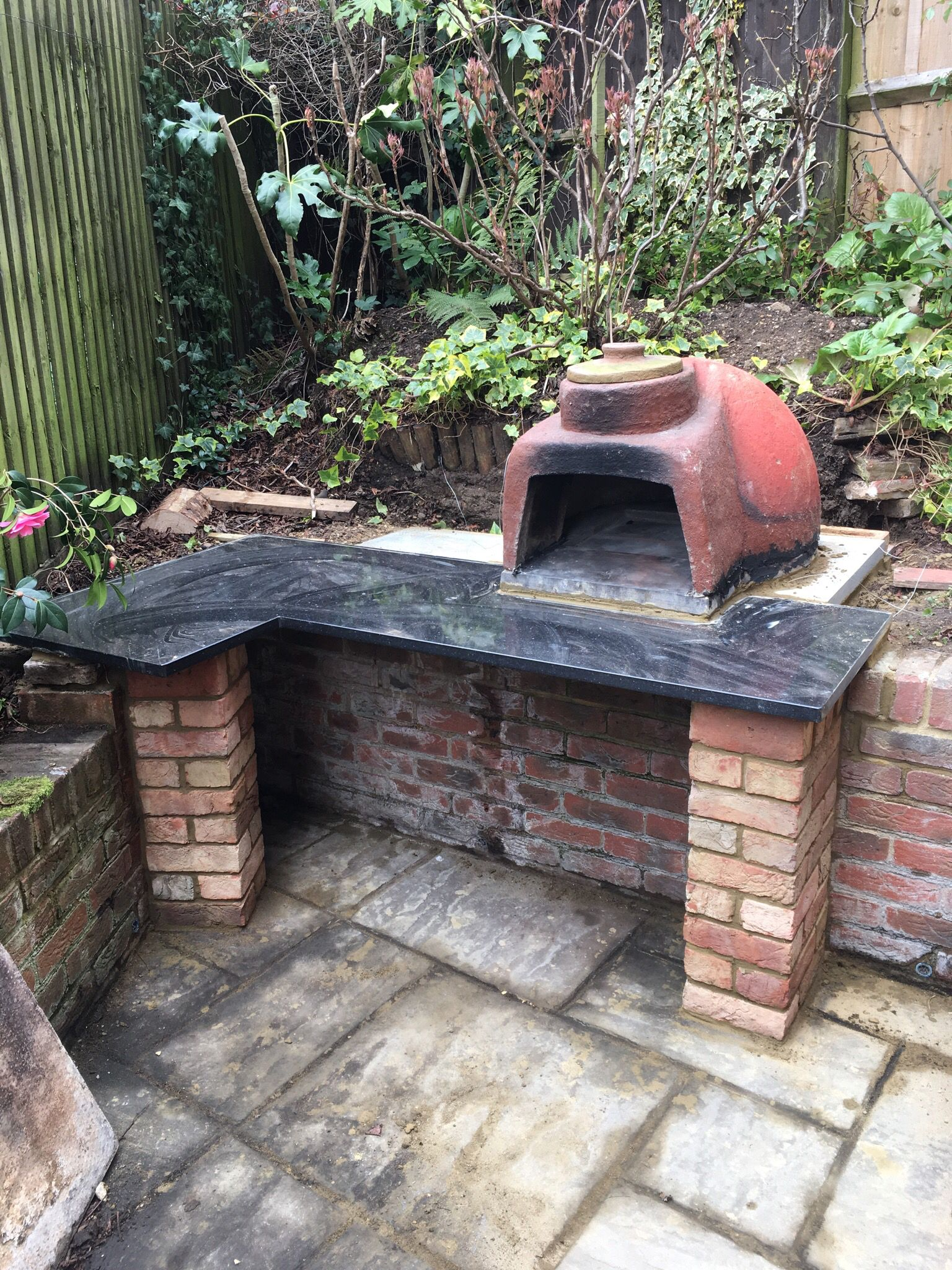 pizza oven prior to brickwork granite top curtesy of ebay