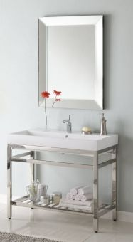 Simple Single 40 Inch Sink Console Bathroom Vanity With Choice Of Metal Base Finish And White Ceramic
