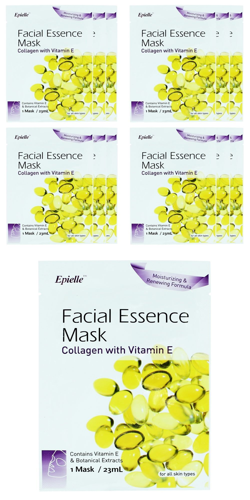 Epielle Collagen with Vitamin E Facial Essence Mask (12 pack) Somme Institute - Cleanse & Mask Set, Fnfused w/ minerals, enzymes & vitamins