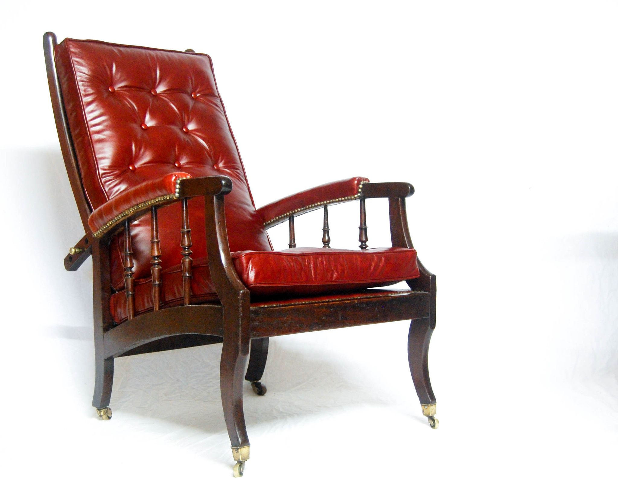 Morris chair cushions - Late Victorian Adjustable Morris Co Style Reclining Armchair With Leather Cushions