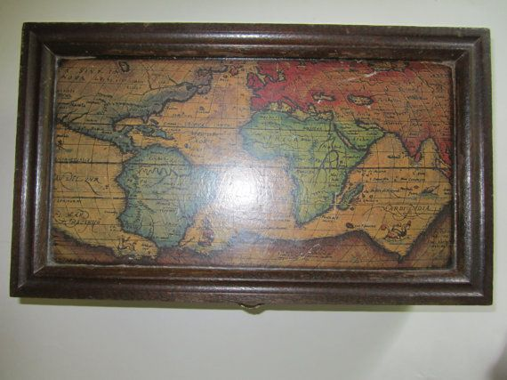Vintage jewelry box wood box old world map lid red lined vintage jewelry box wood box old world map lid red lined interior vintage home decor gumiabroncs Choice Image