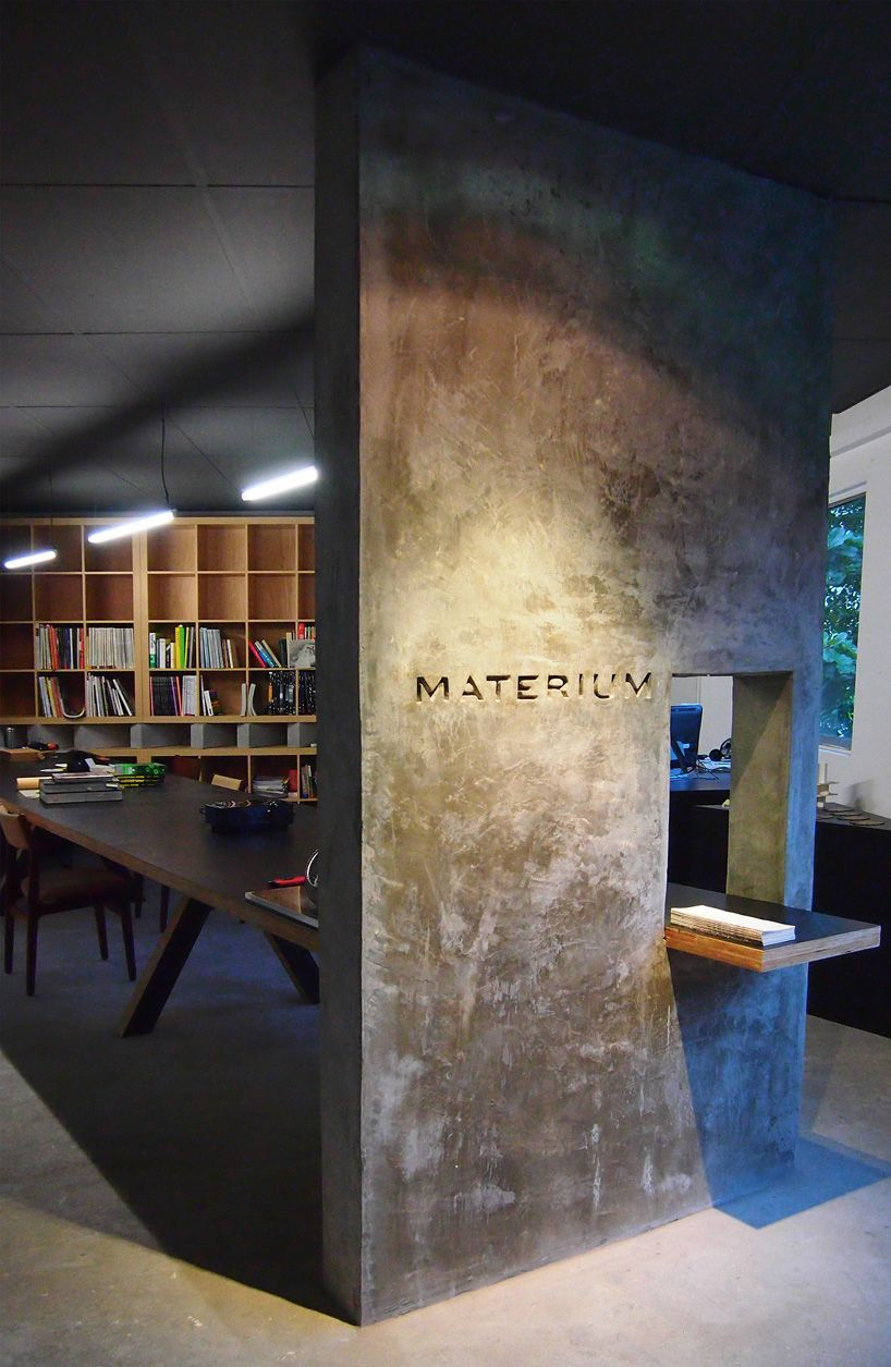 office feature wall. Singapore Office By Materium Architecture Group. The Concrete Feature Wall Grounds And Separates Work Spaces. An Interesting Design For