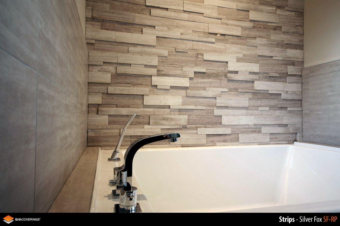Bathroom Walls Clad In Erthcoverings Silver Fox Strips
