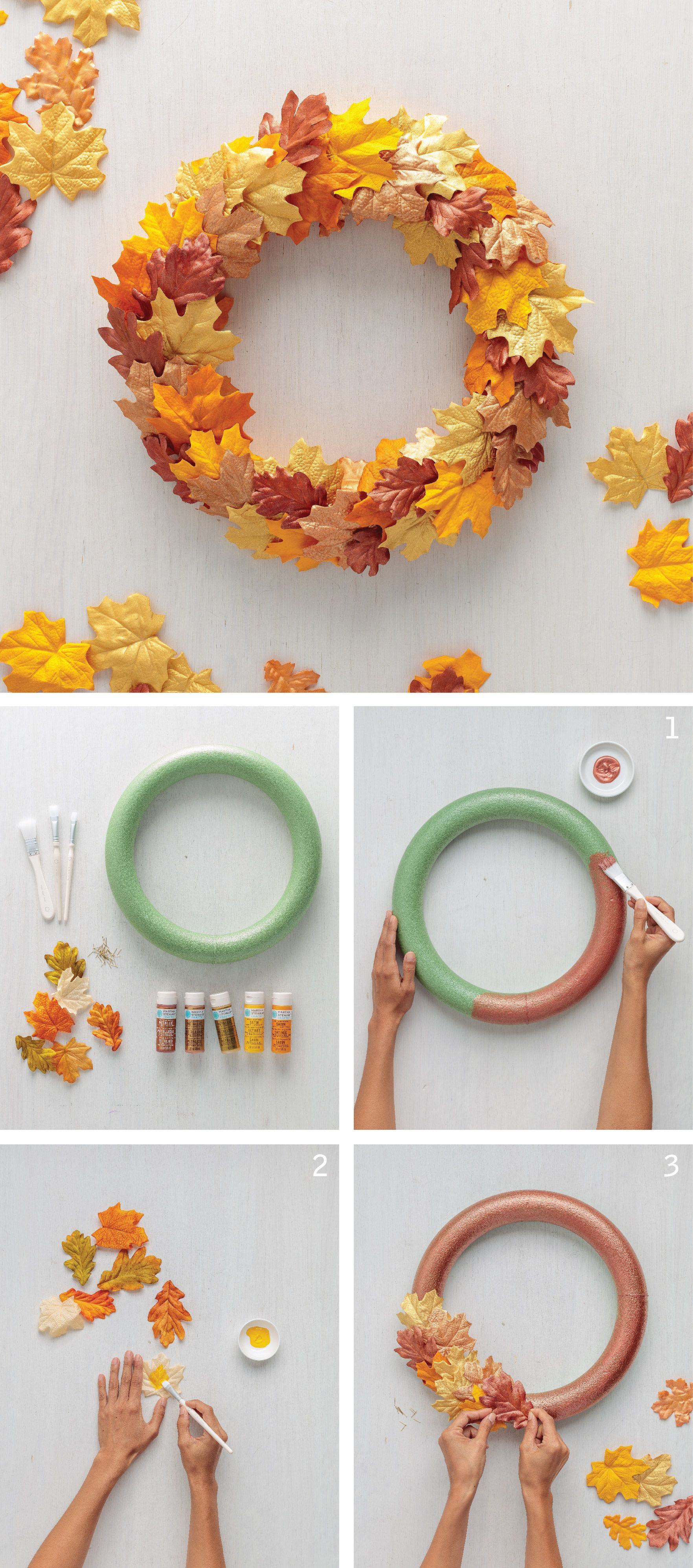 Painted Fall Leaf Wreath Wreaths Martha Stewart Crafts Thanksgiving