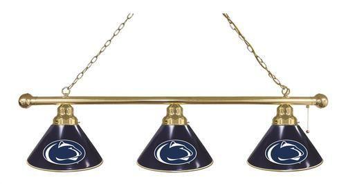 Penn State University Billiard Light 3 Shade Brass Fixture