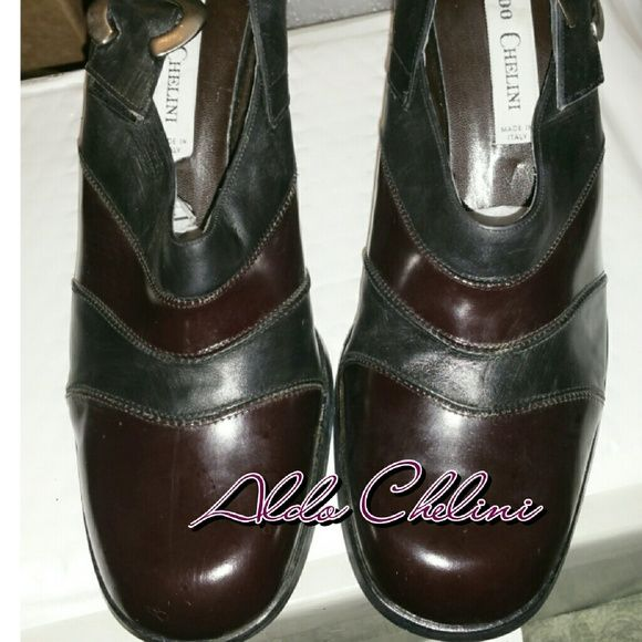 9a6907476f8 New Aldo Chelini Italian Leather Pumps GEORGOUS Brand New NWOT or Box  Bourdoux and black Small scratches on bottom of sole but never worn Size  9.5 3 inch ...