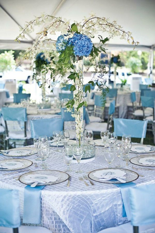 Decorate Festive Table Decoration Light Blue Floral Table Http
