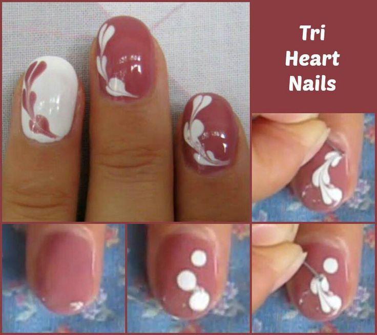 Tri Heart Nail Quick Tutorial I Think It Looks More Like Swirls