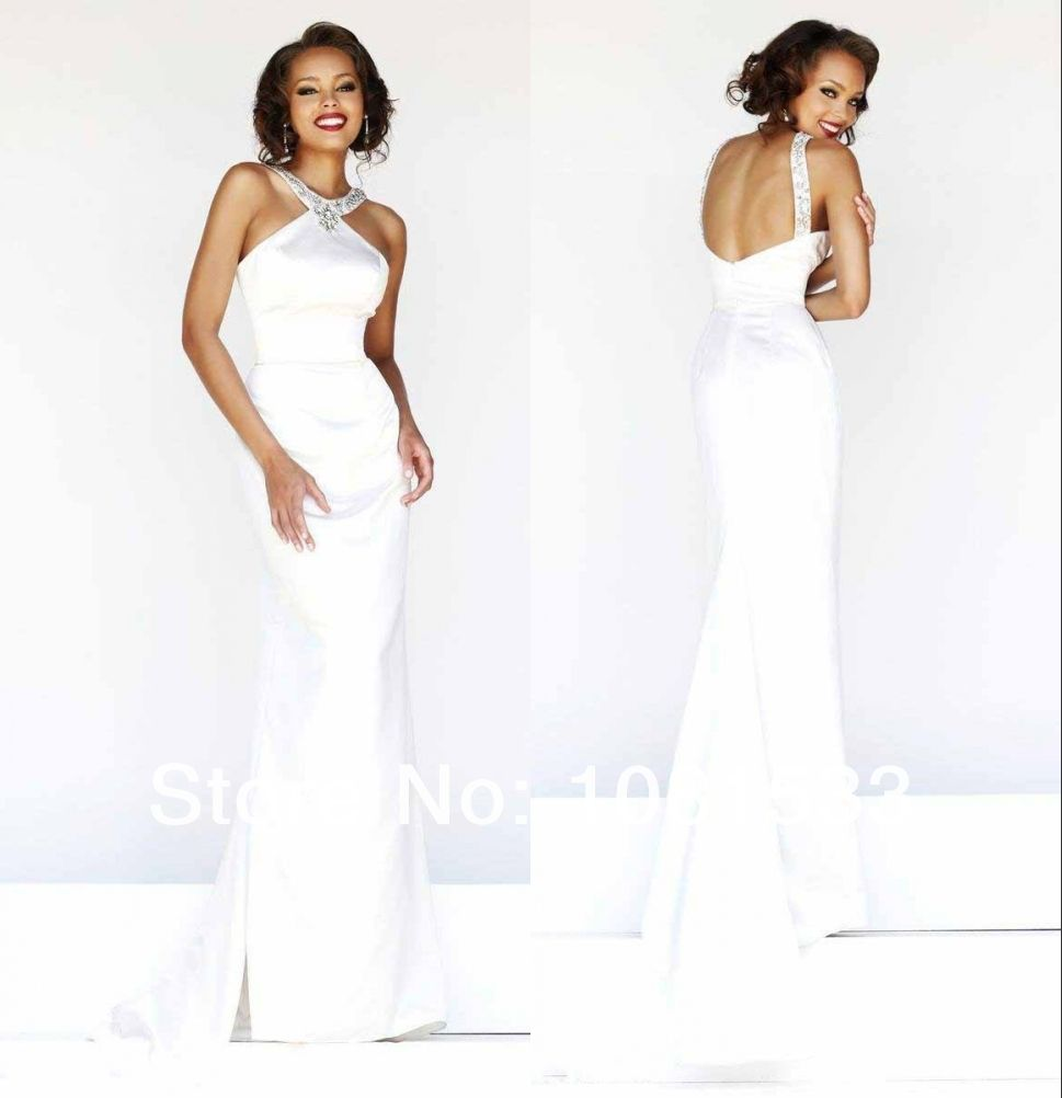Sexy floor length mermaid halter backless beaded long prom gown