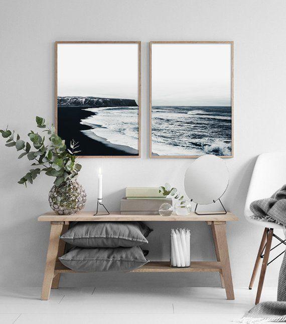 Coastal Set Print, Coastal Wall Art, Ocean Black and White, Ocean Wall Art, Scandinavian Print, Landscape Wall Art, Wall Decor, Home Decor