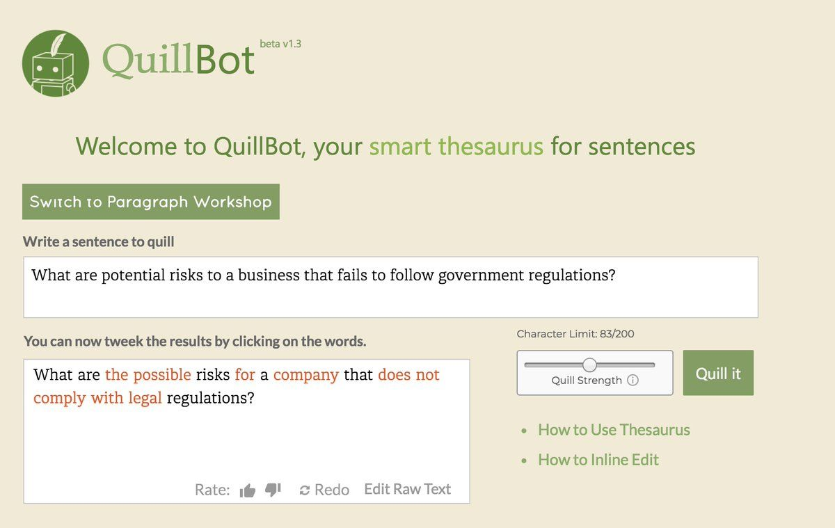 Quillbot Will Save You Countles Hour In Your Writing Proces The Smart Thesauru For Sentence Nlp School Study Tip Tech Paraphrasing New I Acceptable