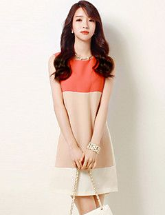 Courte Robe Aux femmes Sortie / Grandes Tailles Chinoiserie,Couleur Pleine Col Arrondi Au dessus du genou Sans Manches Rose Polyester Eté