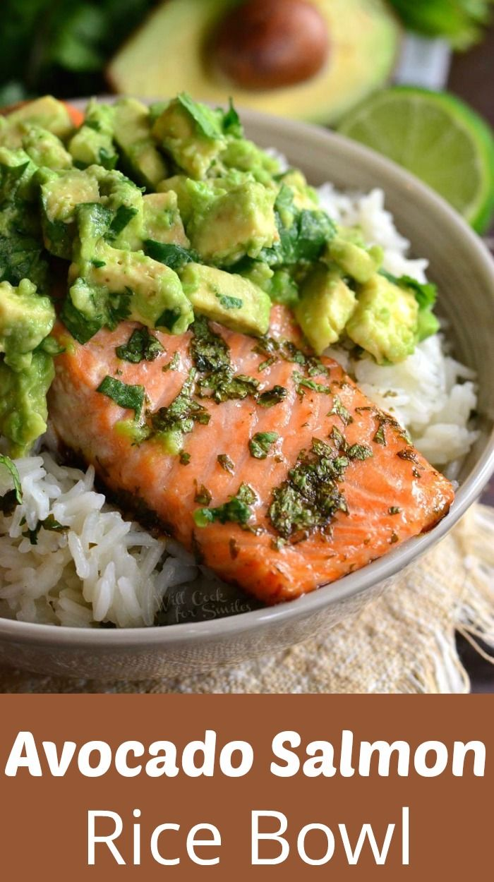 Avocado Salmon Rice Bowl. Beautiful honey, lime, and cilantro flavors come together is this tasty salmon rice bowl. #easyrecipes #healthy #salmon #avocaod #recipeshealthy