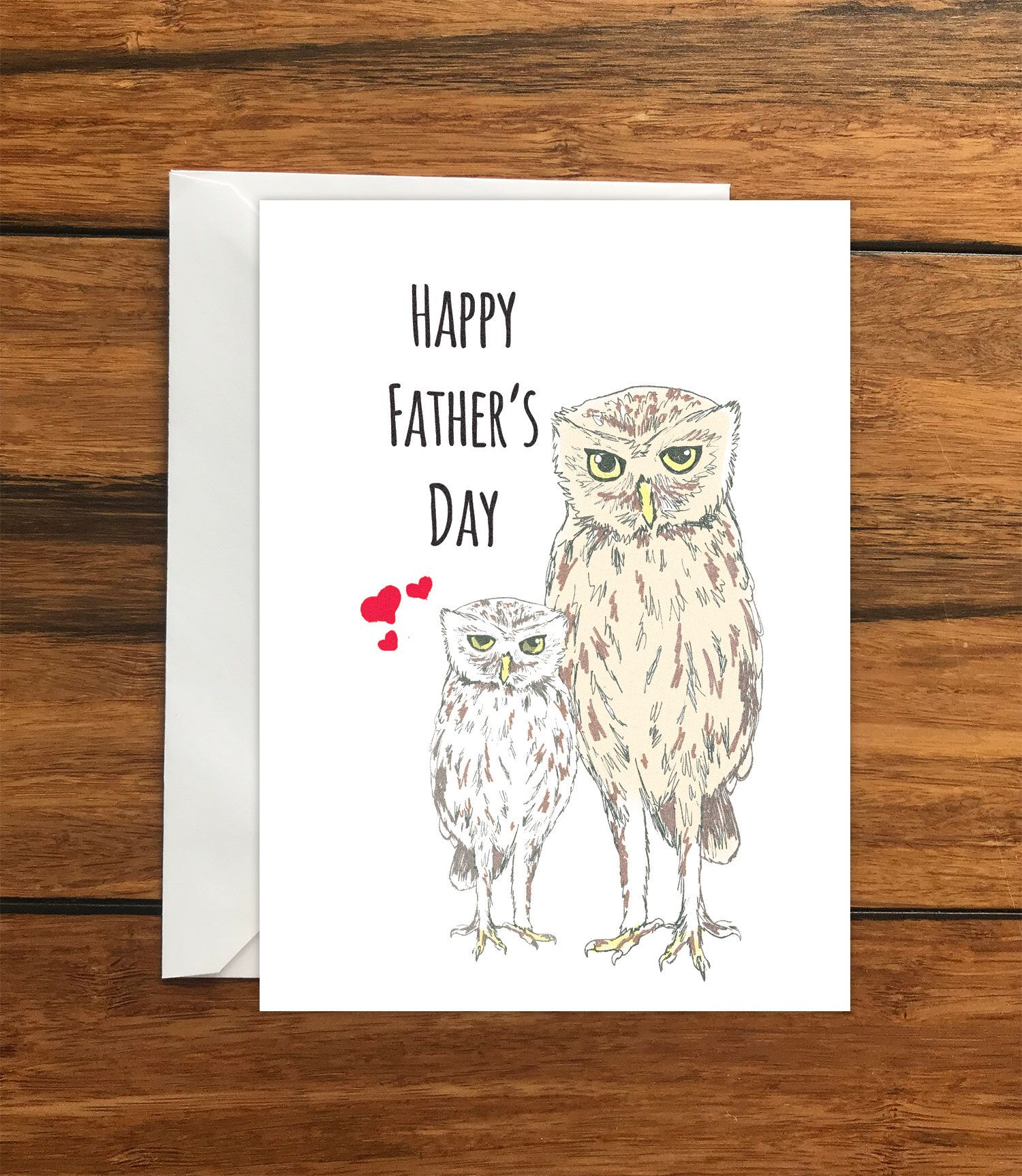 Happy Fathers Day Owls Blank Greeting Card A6 Happy Father