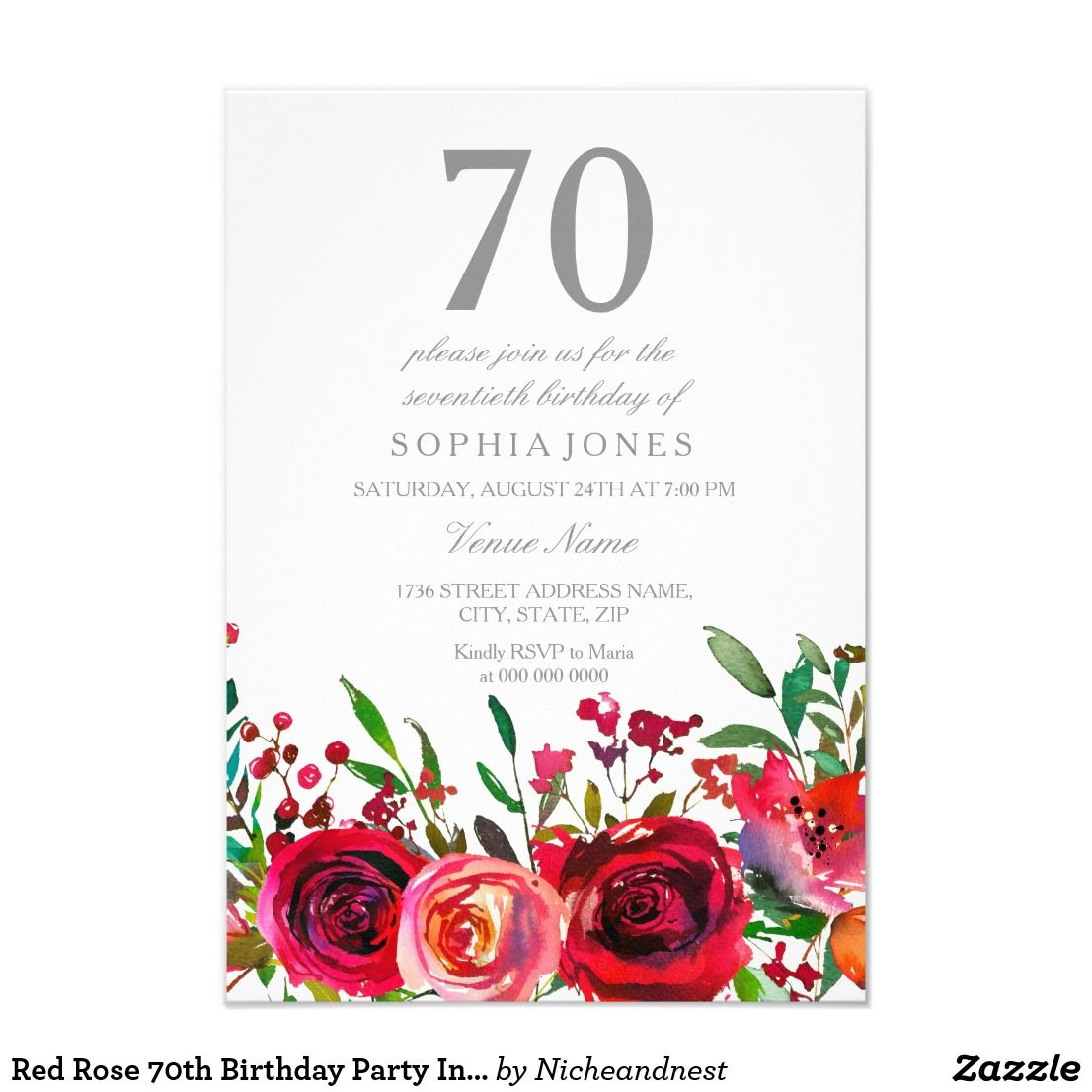 Red Rose 70th Birthday Party Invitation | 70 birthday parties, 70 ...