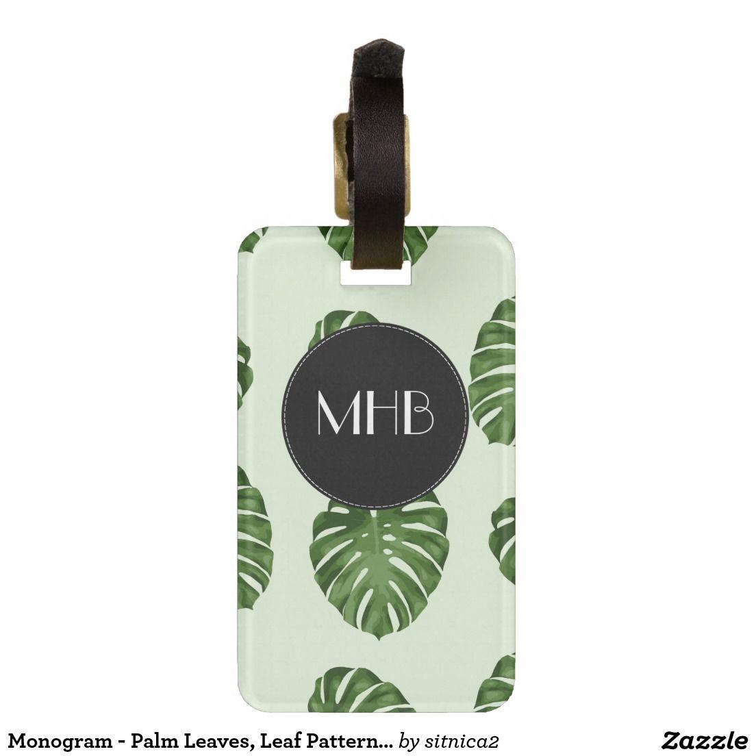Monogram - Palm Leaves, Leaf Pattern - Green Travel Bag Tags