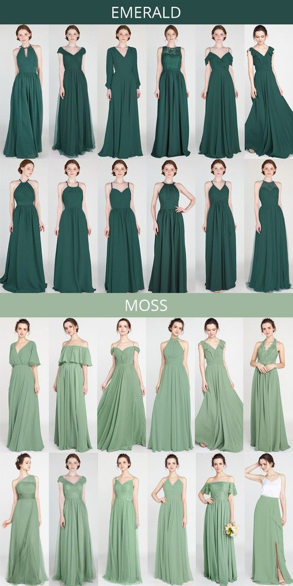 emerald and moss shades of green bridesmaid dresses