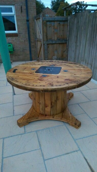 Electrical cable drum that I turned into a garden table, all thanks to ideas on ...