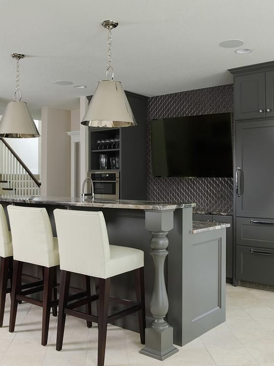 Nice Sleek Basement Bar Features Black Cabinets Paired With Gray Granite  Ocuntertops And A Gray Geometric Tile