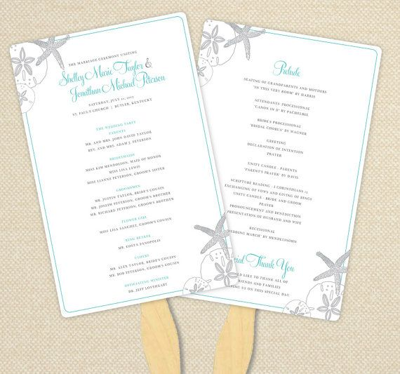 Custom Wedding Program Fan For Beach Starfish And Sand Dollars Customized Printable Pdf Or Embled Fans