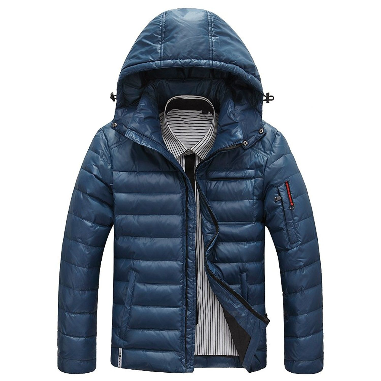 Men S Winter Down Jacket Sports Quilted Puffer Coat With Removable Hood Blue Cp1873h8wkd Men S Clothin Mens Down Jacket Winter Jacket Men Mens Winter Parka [ 1500 x 1500 Pixel ]