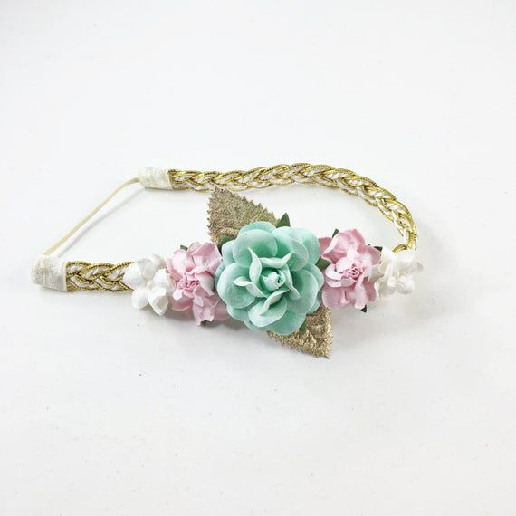 Mint Headband, Pink Headband, Pink and Gold Headband, flower crown Headband, Pink Headband, flower g #crownheadband