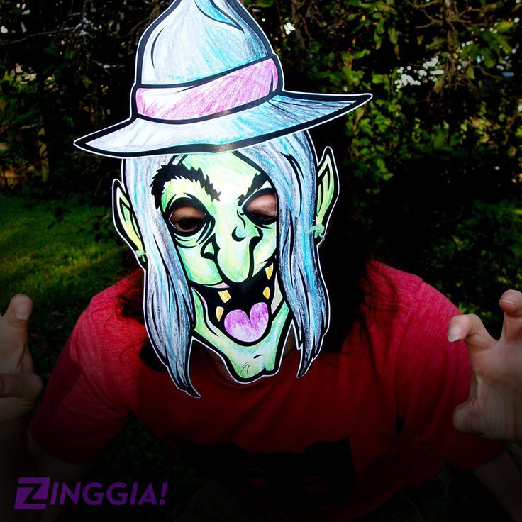 Wanna Make Your Own Halloween Mask Check Out This Witch Paper For Kids To