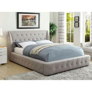 grey upholstered king single bed rose linen full ideas
